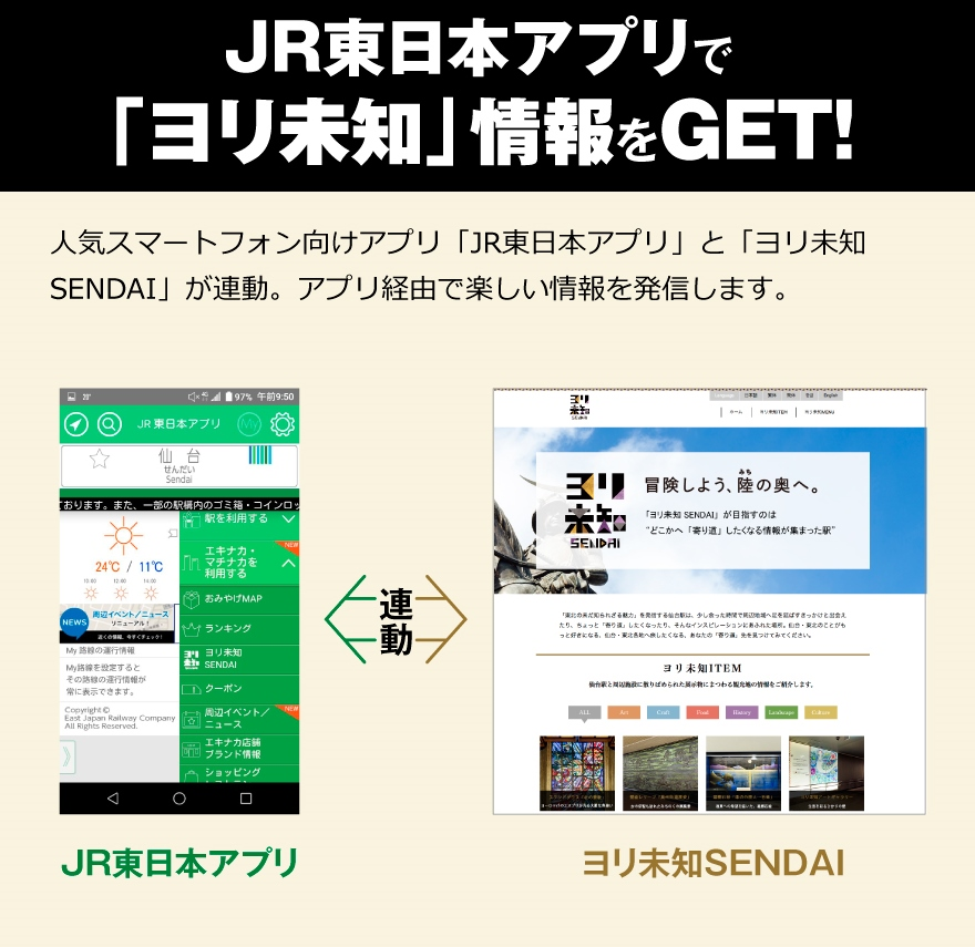 "Get ""Yorimichi information"" by JR East application;!application ""JR East application"" and ""Yorimichi SENDAI"" for popular smartphones are cooperation. We send pleasant information via application."